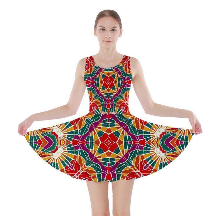 Multicolor Geometric Print Skater Dress