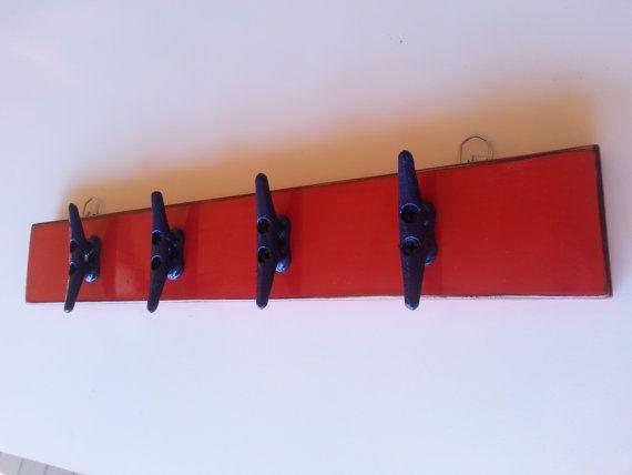 Coat Rack - Nautical Nursery Decor - Boat Cleat - Wall Rack - Nautical Decor - Lake House Decor - Red Decor - Navy Decor - Gift Idea