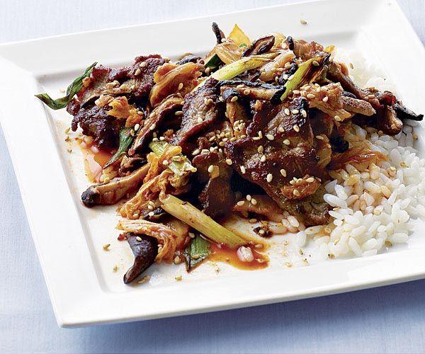 Stir-Fried Pork with Kimchi and Shiitake recipe