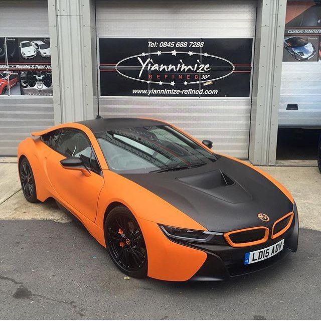 BMW I8 Rental >> Matte orange and black BMW i8! Photographer: @yiannimize   @M85Media   @StancedAutohaus ...