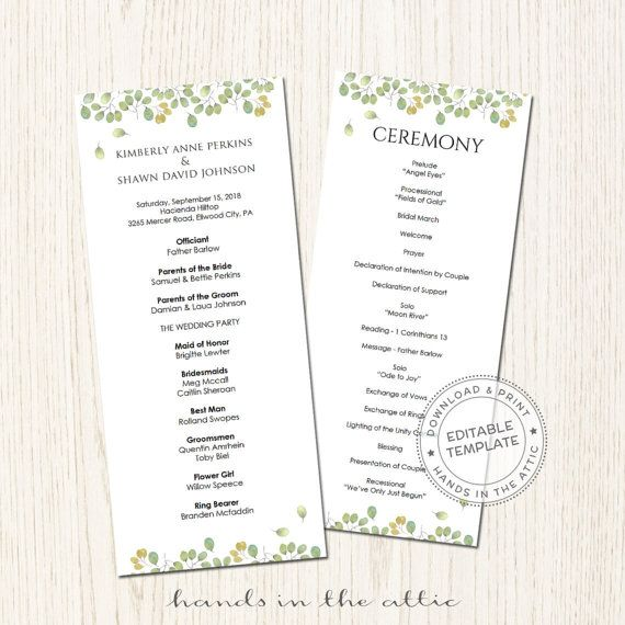 57 best Wedding Program images on Pinterest My etsy shop - baby shower agenda template