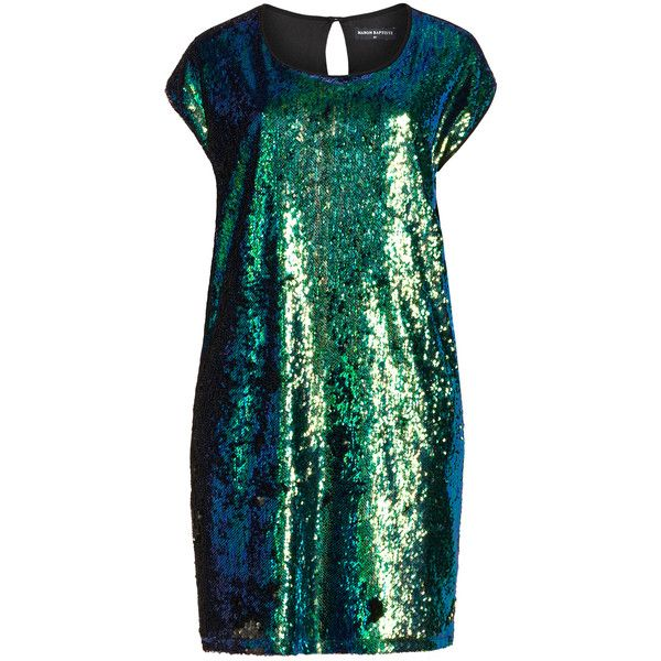 Manon Baptiste Green / Black Plus Size Sequin front dress ($260) ❤ liked on Polyvore featuring dresses, green, plus size, knee-length dresses, green cocktail dress, chiffon cocktail dress, sleeveless dress and plus size dresses