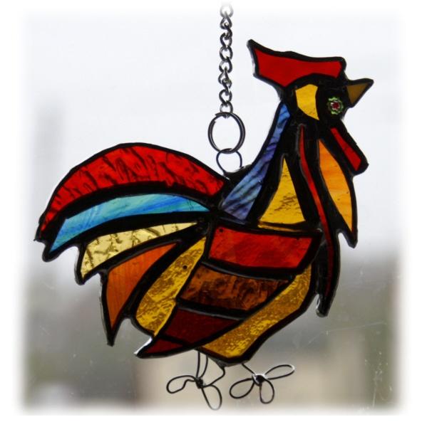 Reserved for Elaine Cockerel Suncatcher Stained Glass chicken farm bird £12.00