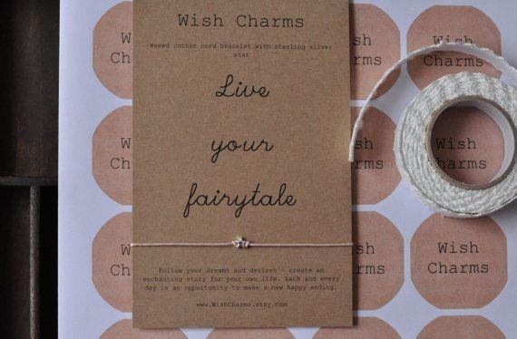 Sterling Silver Wish Bracelet Wedding Favour Wedding Favor Kraft Card Bridesmaid Gift
