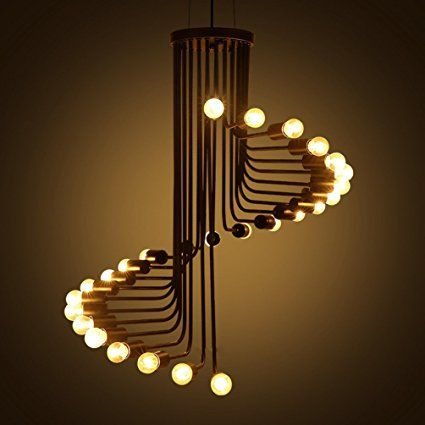 Aiwen Lustres Spiral Stairs style fer forgé ( Ampoules non incluses ) 26 Supports de lampe