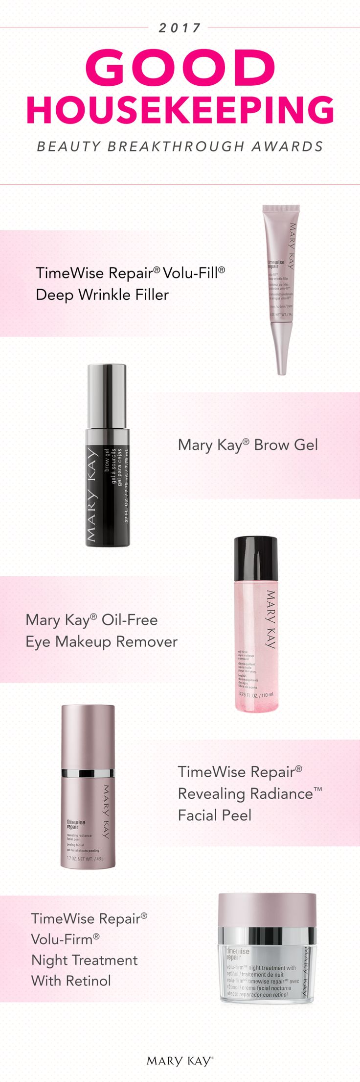 We're tickled pink to be honored by Good Housekeeping! From our gentle eye makeup remover to treatments tough on aging, these products have been named the best in beauty. Click to learn more!   Mary Kay
