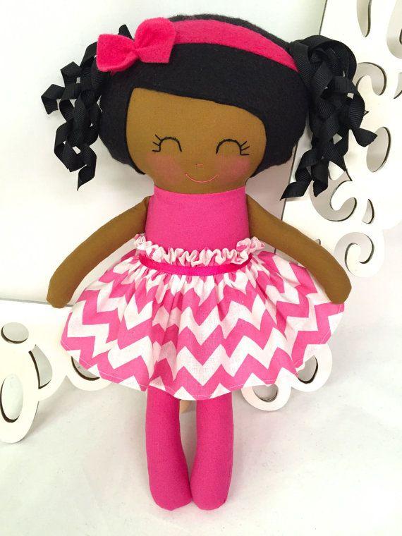 Black Handmade Dolls Fabric Doll Handmade Doll by SewManyPretties