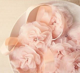 Gorgeous pink fabric flowers.