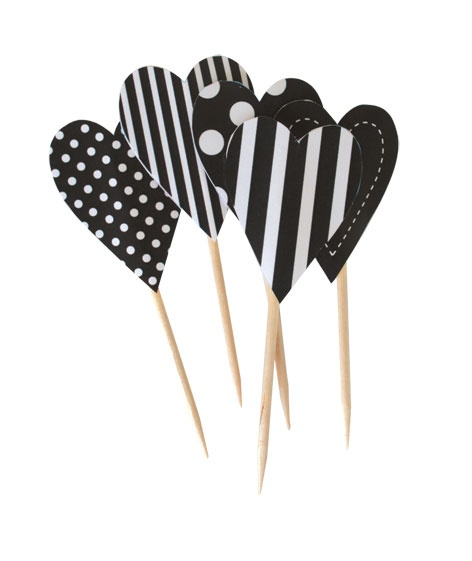 Black Heart Cupcake Picks - Pink Frosting Cupcake Decorations Shop