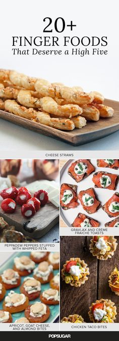 20+ Finger Foods That Deserve a High Five — recipes for cheese straws, rosemary-sesame pecans, Greek salad bites, and many more party starters