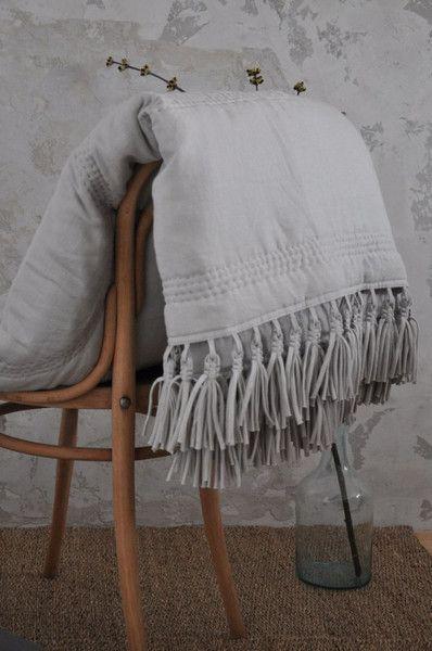 """Lniany pled """"Boho"""" - Meis-Ideis - Kołdry i patchwork"""