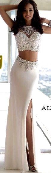 Elegant 2 Pieces Evening Dresses,2 Pieces Prom Dresses For Formal Party,Side Slit Long Women Gowns