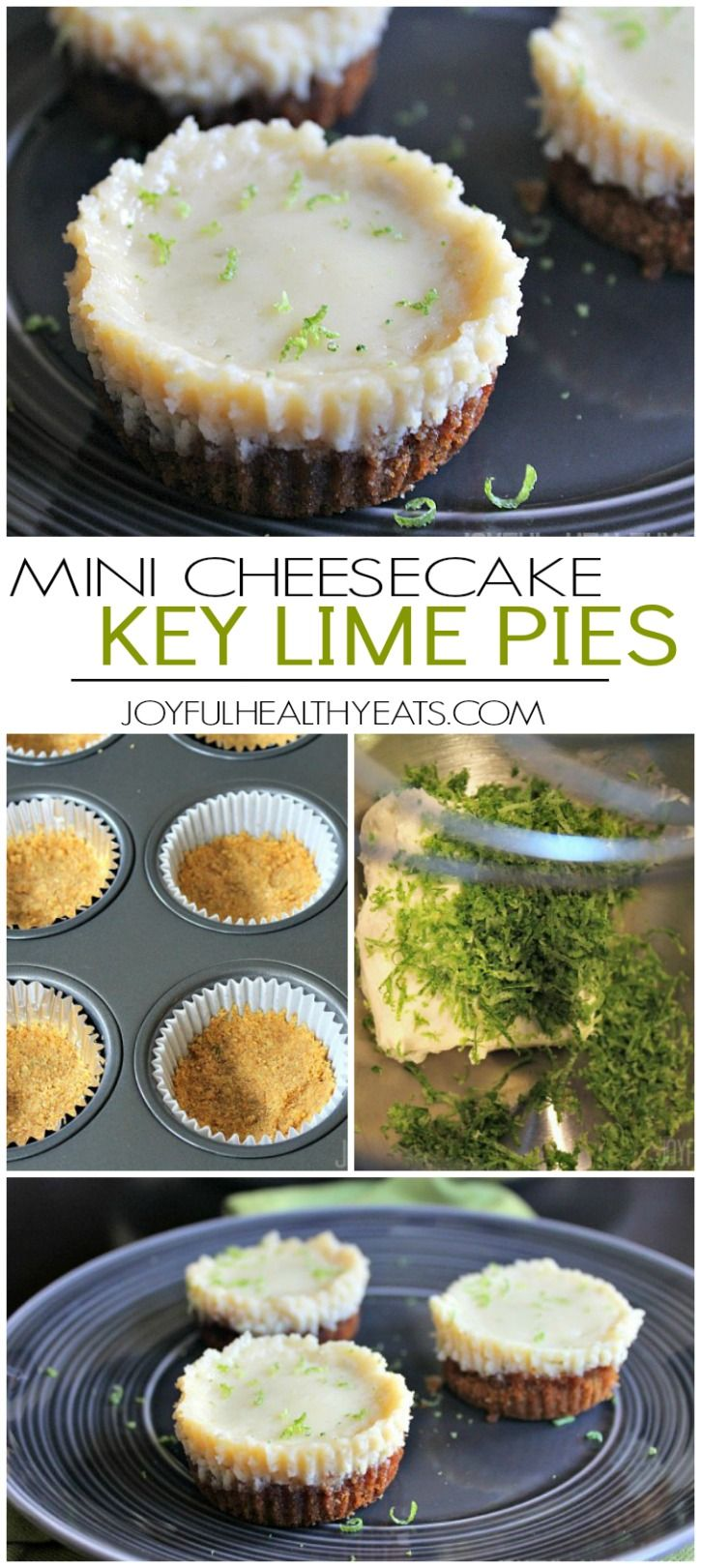 Easy to make Mini Cheesecake Key Lime Pie Bites, done in 30 minutes. The perfect bite size dessert!| joyfulhealthyeats.com #recipes