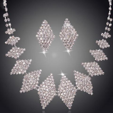 Stunning Diamond Strike Rhinestone Necklace and Earring Bridal/Party Set - UCHARMME.co.nz