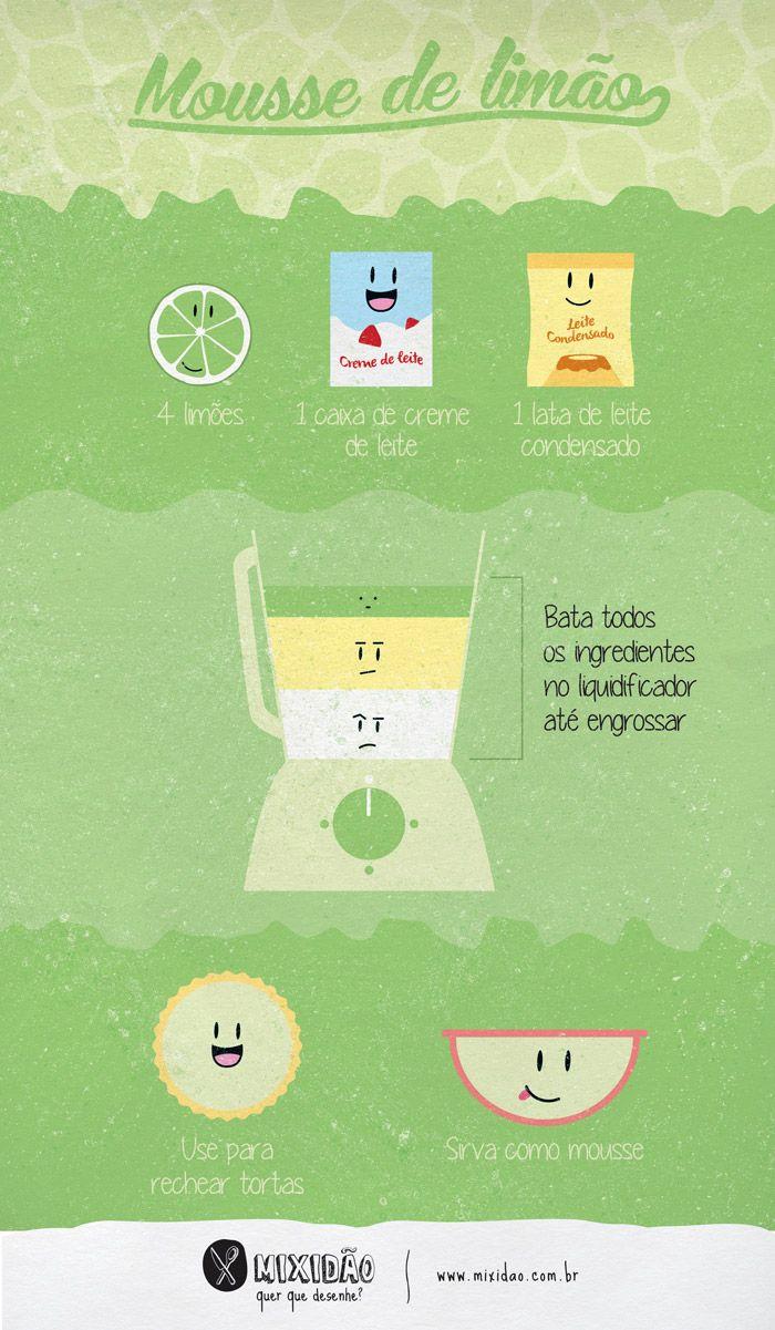 Receita-ilustrada de Mousse de limão - Mixidão