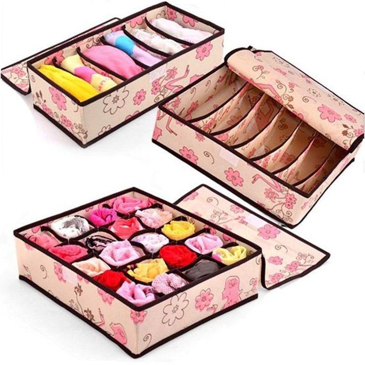 Cute design Home storage supply Underwear Organizer Closet Drawer Storage Box For Socks Ties Bra Lingerie Organiser