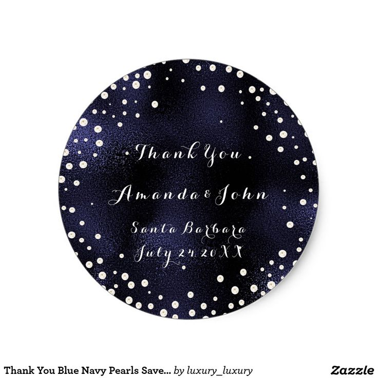 Thank You Blue Navy Pearls Save The Date Round Sticker