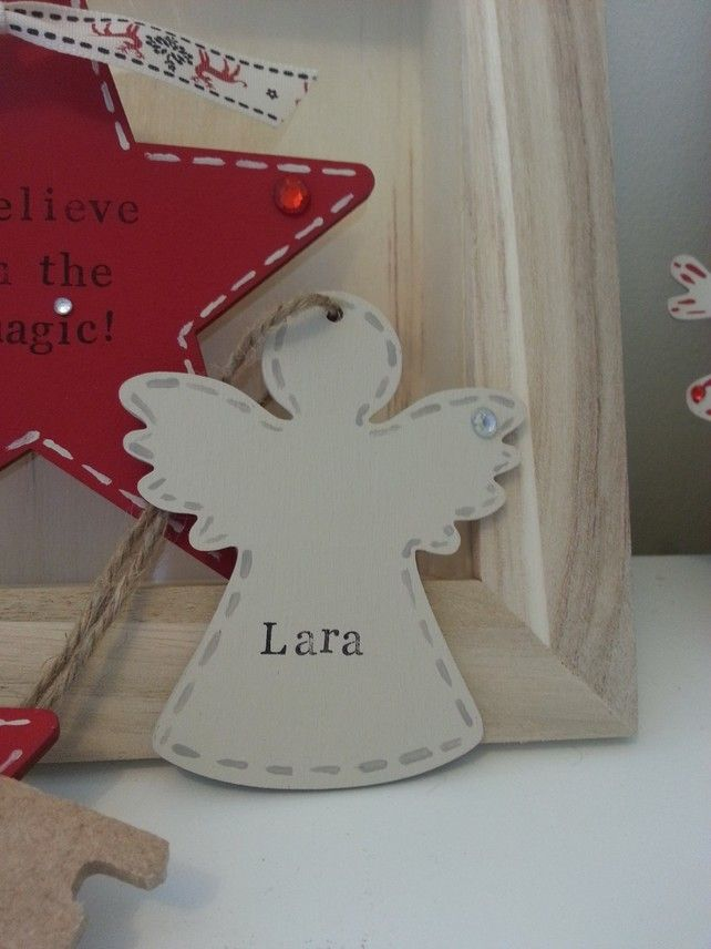 Wooden Angel Personalised Decoration £2.00