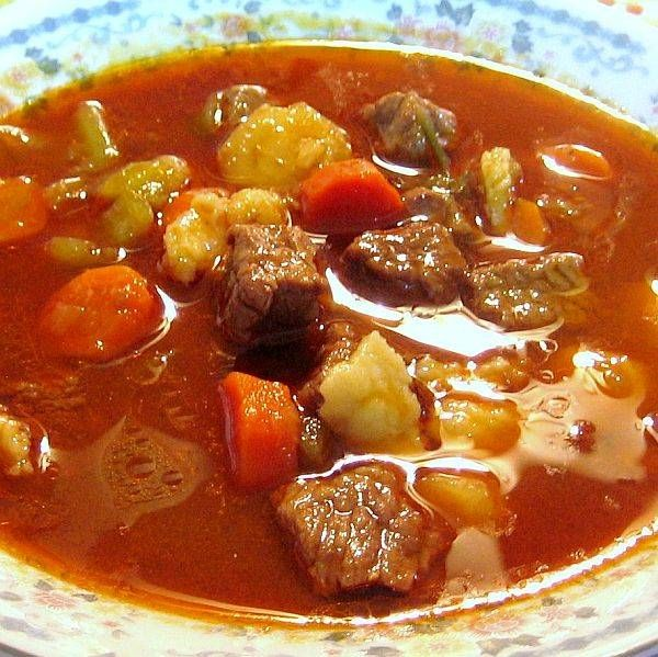 Gulyásleves (Traditional Hungarian beef, potato and carrot soup flavored with paprika)