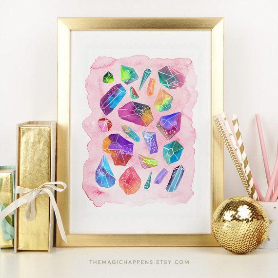 Gemstones Wall Art Printable Watercolor Gems Crystals