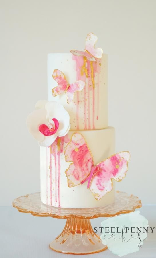 Watercolor Butterflies- Go Pink Collaboration by Steel Penny Cakes Elysia Smith