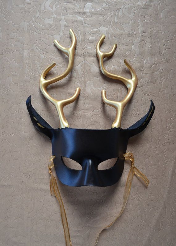 Deer / Stag Leather Mask - Black and Gold - King of the ...