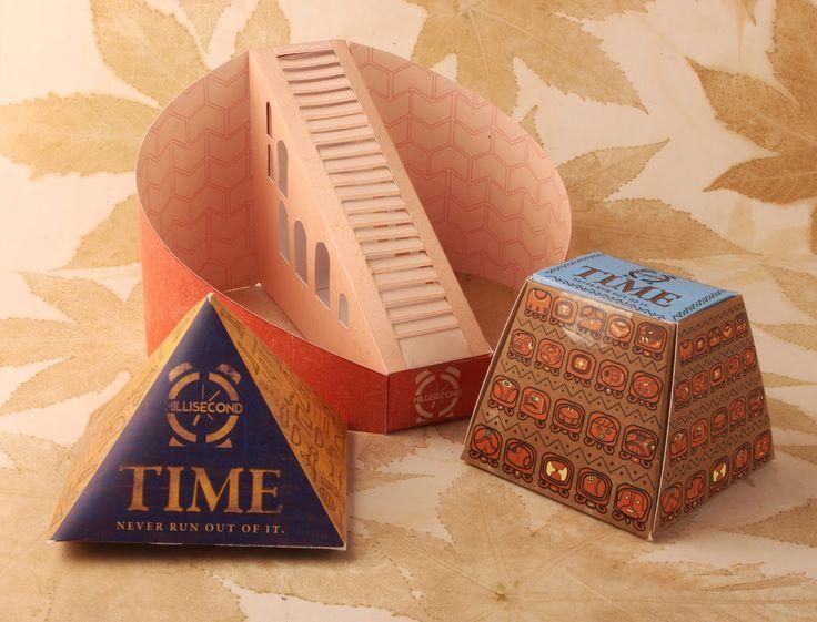 Индийский дизайнер Avani Lakhotia создал проект упаковки из трех коробок разной конструкции и оформленные каждый по своему, который имеет название Millisecond, но не имеет конкретного товара, который бы был упакован в неё. Вдохновением для автора послужили три древние культуры. Во-первых — календарь майя, во вторых — египетские солнечные часы и в третьих — «The Jantar Mantar», расположенный в Нью-Дели.  http://am.antech.ru/mLFY