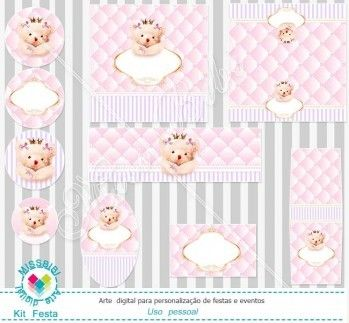 Kit Festa digital Ursa Princesa mod:760 Cute Bear Princess - Printable Party
