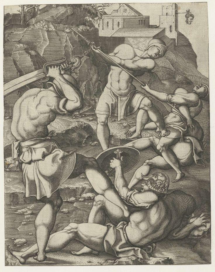 Gevecht tussen vijf romeinse soldaten, Monogrammist AC (16e eeuw), 1520 - 1562