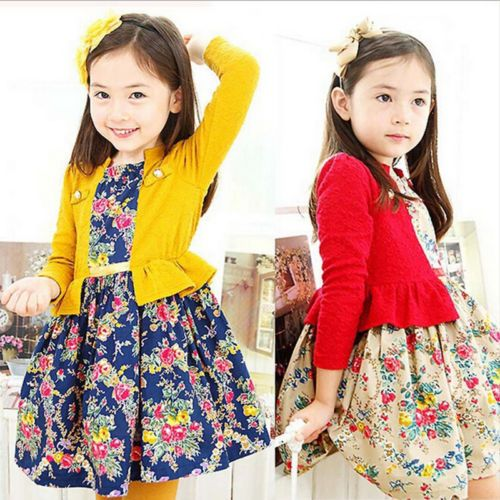 Otono-Kids-Nina-Falda-Gasa-Costura-Flor-Coreano-Princesa-Vestido-Ropa-2-7y