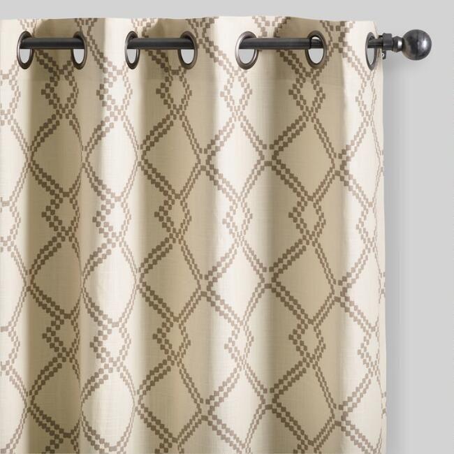 World Market Mocha Brown Lattice Cotton Curtains Set of 2