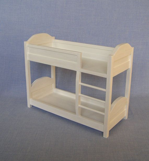 1:6 scale Bedroom Furniture Bunk Bed for 12 inch doll. Made of wood and finished with non-toxic paint. Bunk beds are great for playing with