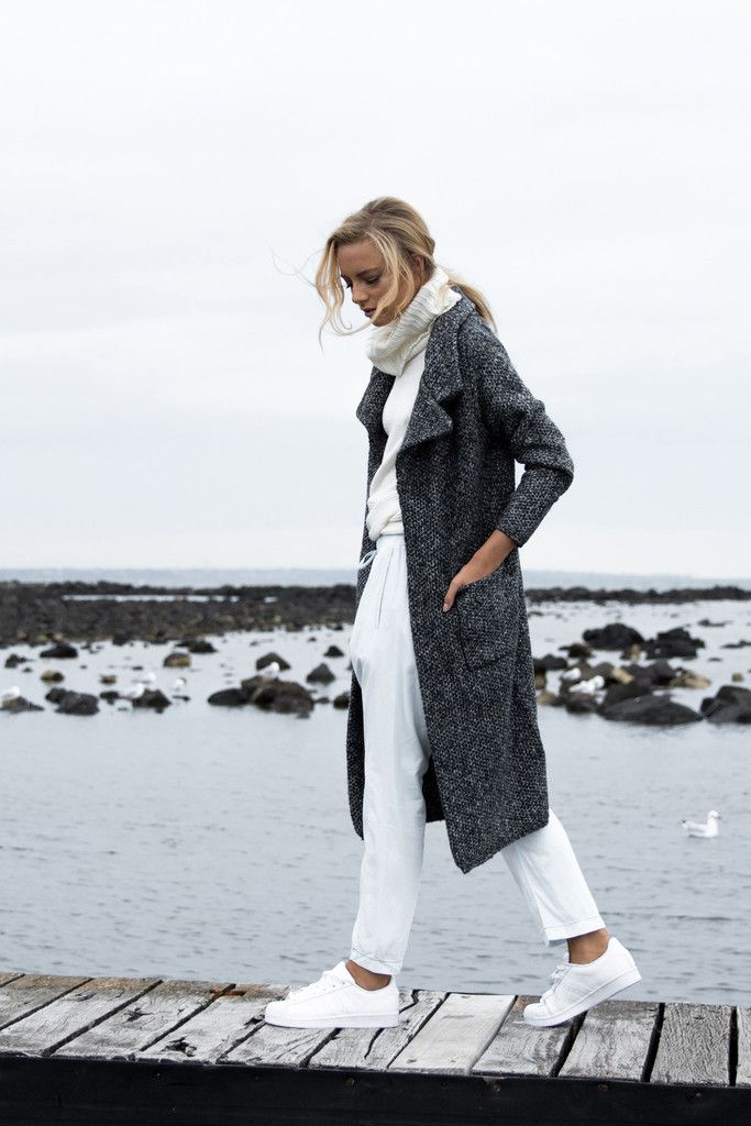 Madison Square - Maya Knitted Coat - Charcoal