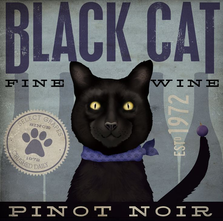 Love the look of this.  Black Cat wine company original illustration canvas graphic artwork 12 x 12 by stephen fowler. $79.00, via Etsy.