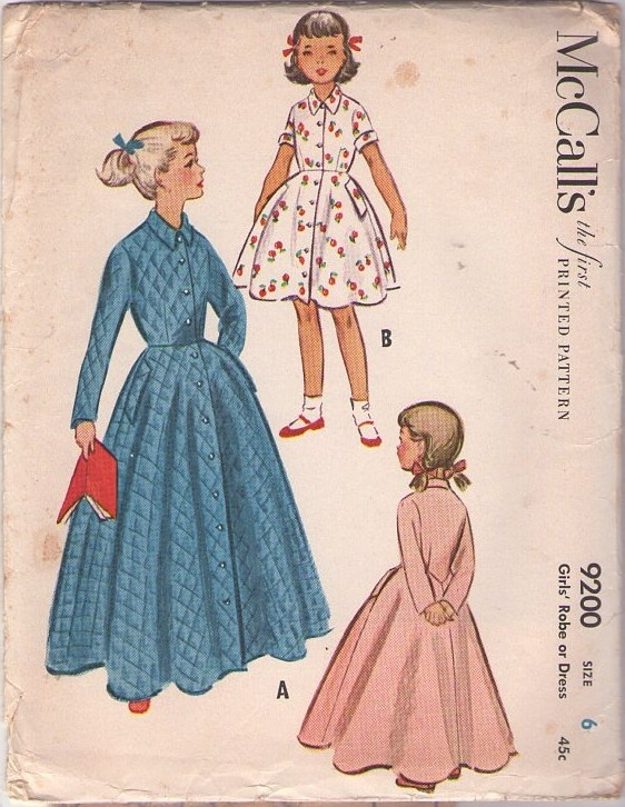 McCall's 9200 Vintage 50's Sewing Pattern STUNNING Girls Full Flared Sweeping Robe, House Coat, Front Buttoned Day Dress #MOMSPatterns