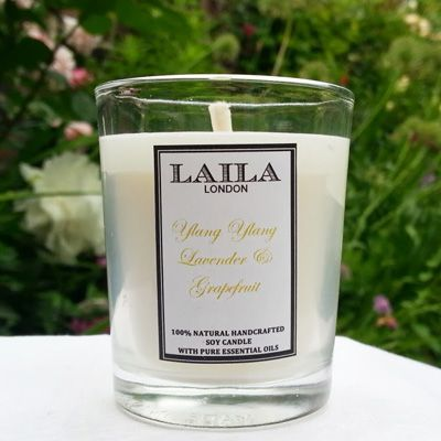 [share]  Made with 100% natural wax and pure essential oils, this blend of Ylang Ylang, Lavender, and Grapefuit promises to relax and calm your mood.  It produces a soy candle with a scent that will linger in any room for hours.  It is best to burn for between 2-4 hours at a time. To keep the content all natural, we add no colour to our soy candles.  Natural soy wax candles burn much cleaner and longer than conventional paraffin candles allowing for clean air in your room.