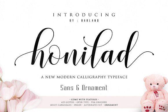 Honilad Script + Sans & Ornament by Barland on @creativemarket