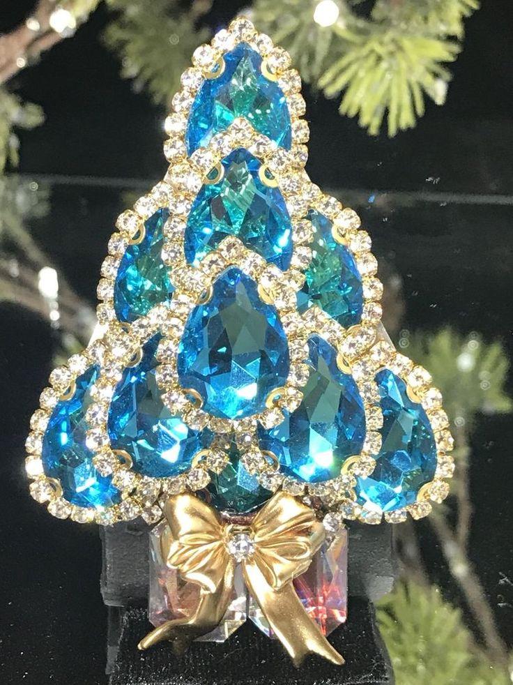 Aqua Glass & Vintage Rhinestone Christmas Tree Pin Brooch Signed LaHeir   eBay