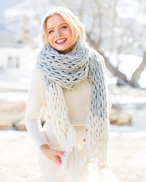 DIY Giant Arm Knit Scarf by Anne Weil of Flax & Twine