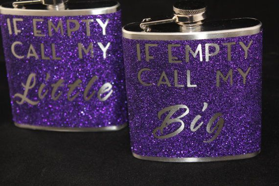 Sorority Flask Gift Big Little Gift Personalize by ofintrest