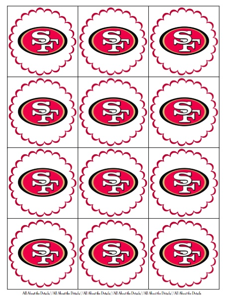 All About the Details: Freebie [The Big Game Printables] - cupcake toppers  #SuperBowl #49ers