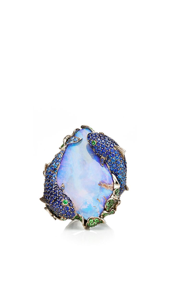 18k yellow gold deep sea ring with opal tsavorites and sapphires by lydia courteille for