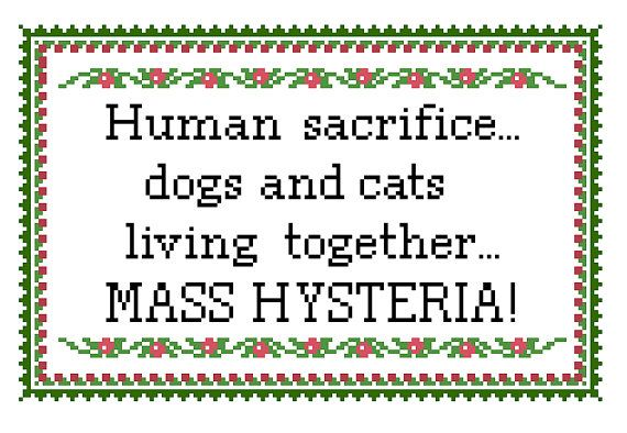 Mass Hysteria Ghostbusters Quote Cross Stitch by CheekySharkLabs, $4.50