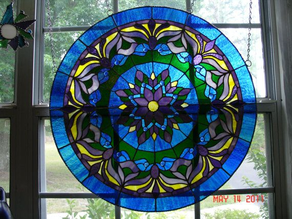 Large Blue Medallion Stained Glass Panel by twillobee on Etsy
