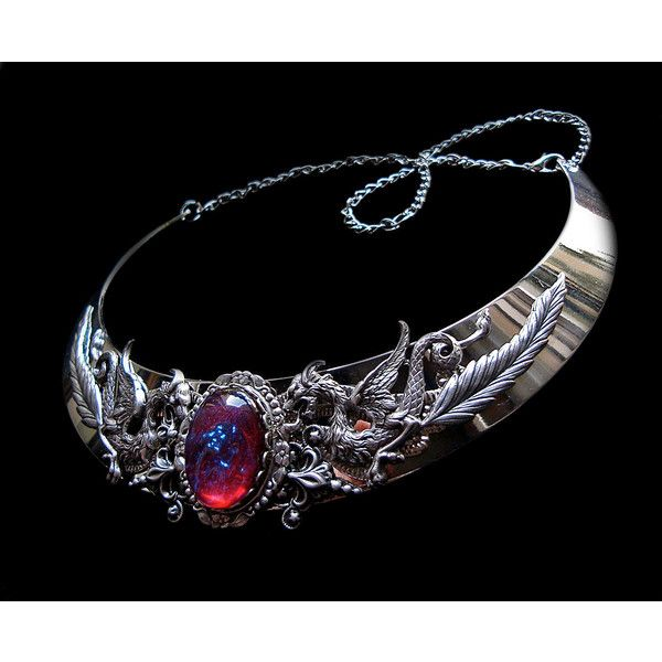 Necklace Dragon Breath Medieval Fantasy Torc Renaissance Silver... (110 CAD) ❤ liked on Polyvore featuring jewelry, necklaces, renaissance necklace, opal jewelry, silver jewellery, opal silver jewelry and silver jewelry
