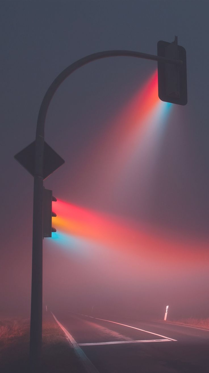 Beautiful Foggy Intersection Magic Captured On A Colorful Night