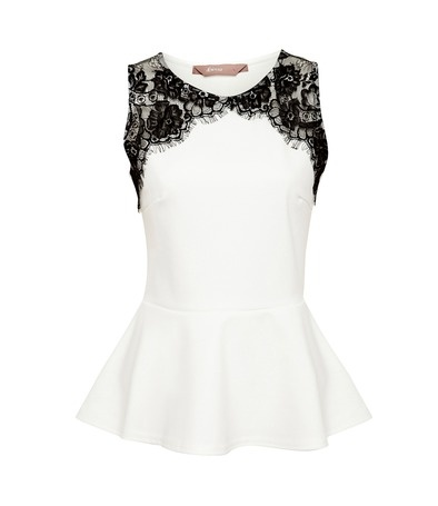 White Lace Detail Peplum Top