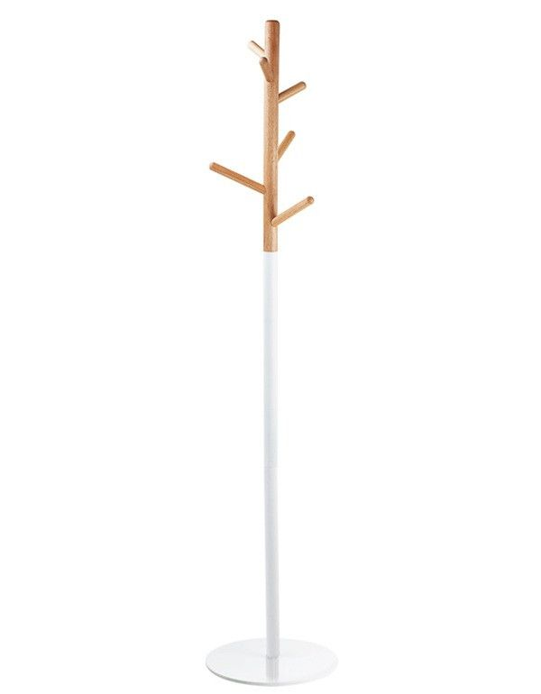 Modern Wooden White and Brown Coat Rack - IKEA hack?