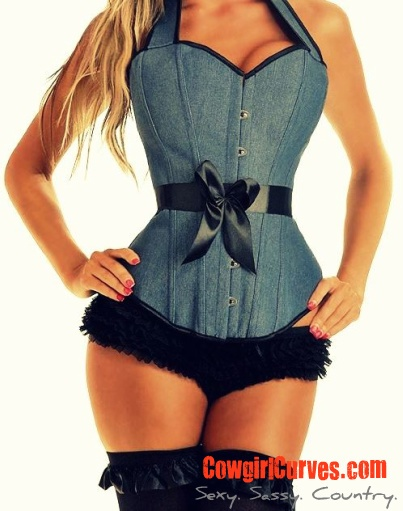 #countrgirl #cowgirl #western #country  Our sexy denim country girl corset...lace up back with halter top style. Rich denim material.   www.CowgirlCurves.com