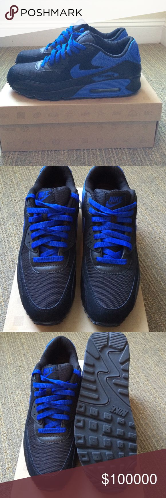 Air Max 90 Black/Varsity Royal Excellent condition only worn once. No signs of wear. Authentic Nike Shoes Sneakers